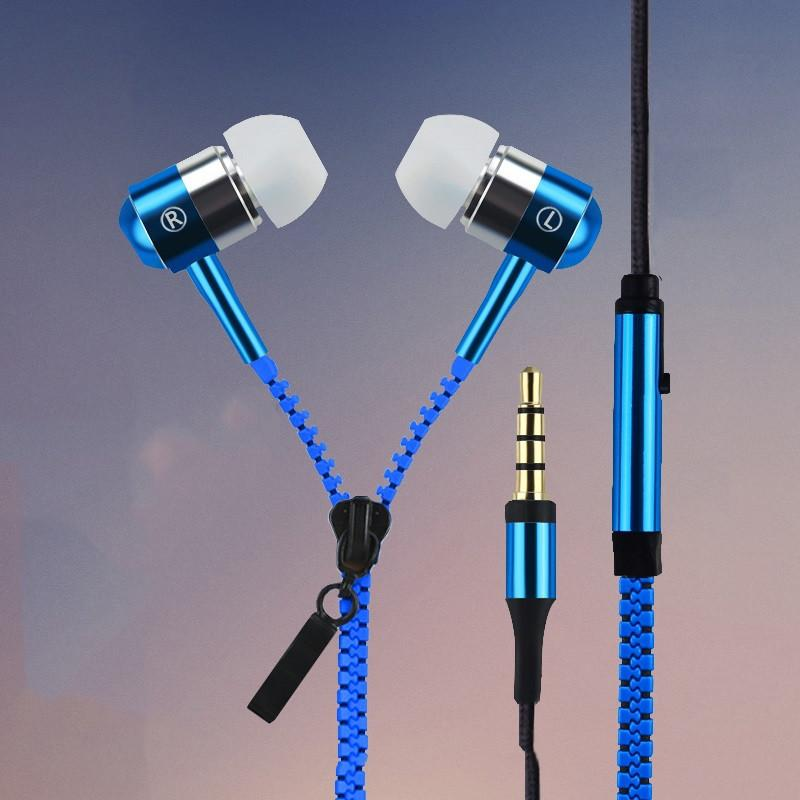 Hot Sale - Exclusive Rainbow Glowing & Flashing Light Earphone Metal Zipper - Free Shipping