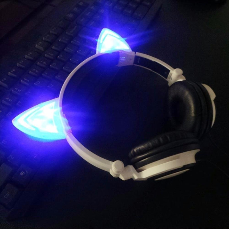 Flashing LED Cat headphone in night ON Mode