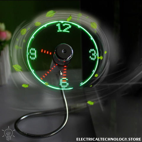 Electrika™ USB Fan Light LED Clock - Glowing & Flashing - 50% Off