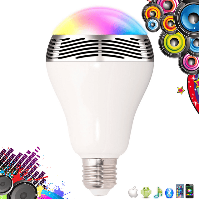 Glitter ™ - Bluetooth LED Light Bulb with Built-In Speaker - Smarthphone & Remote Control
