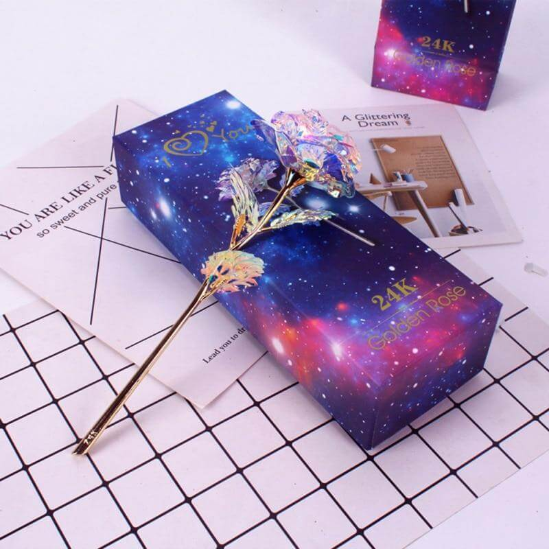 Glitter Galaxy Colored Gold Rose With Love Base And Gift Box For Valentine, Mother's Day, Anniversary Gift