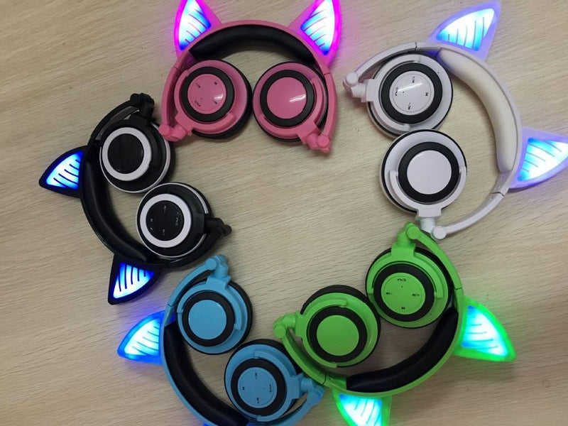 Glory® -  BLUETOOTH LED CAT EAR HEADPHONES (Wireless & Rechargeable) - 2017 5 (five) colors