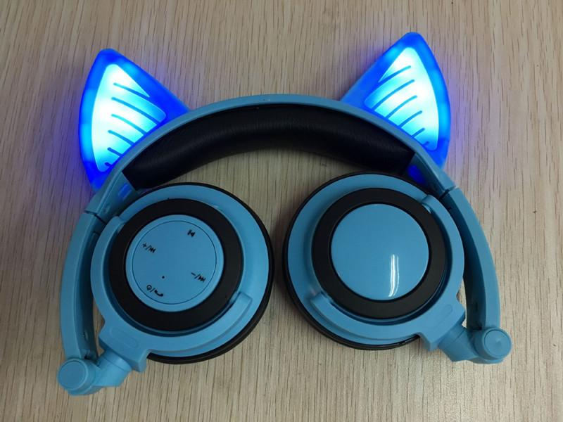 Glory® -  BLUETOOTH LED CAT EAR HEADPHONES (Wireless & Rechargeable) - 2017 Blue