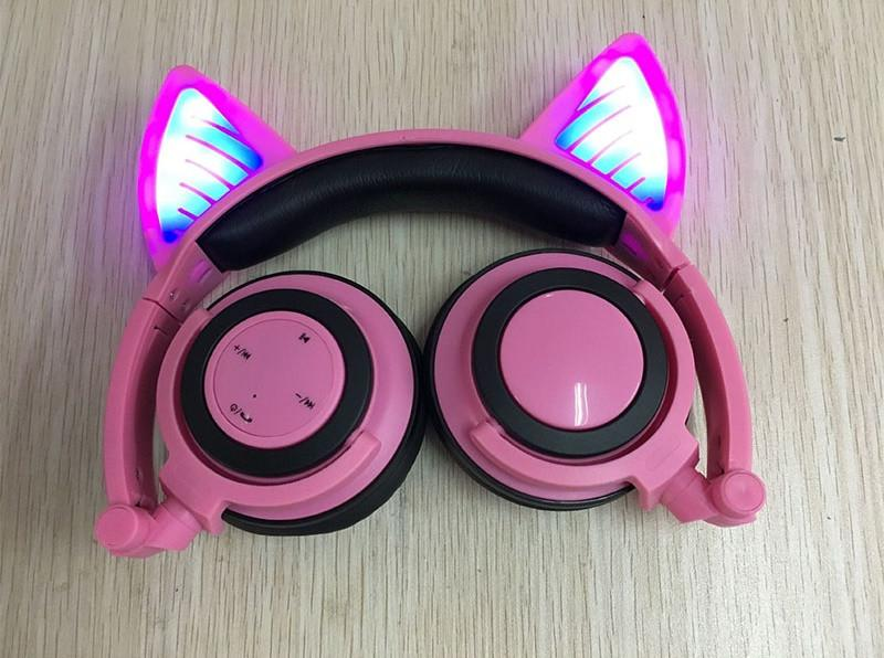 Glory® -  BLUETOOTH LED CAT EAR HEADPHONES (Wireless & Rechargeable) - 2017 Pink