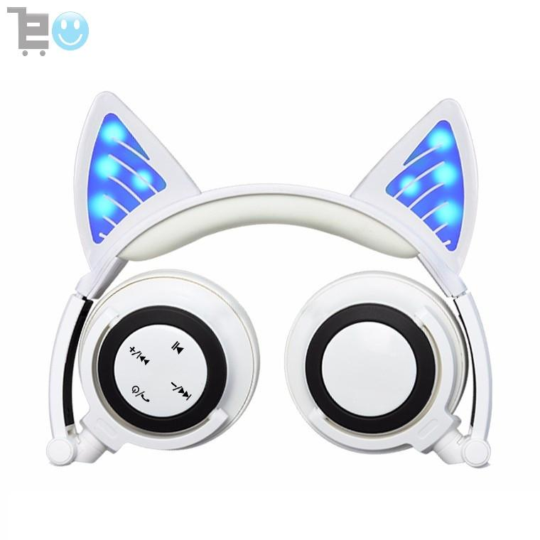 Glory® -  BLUETOOTH LED CAT EAR HEADPHONES (Wireless & Rechargeable) - 2017 White