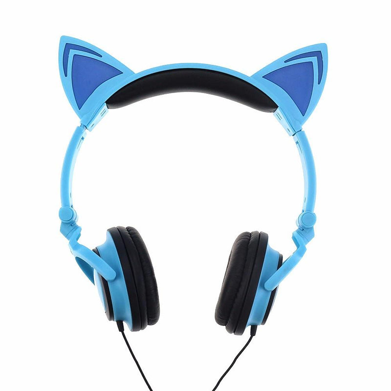 LED Flashing Hot Cat Ear Headphone Blue