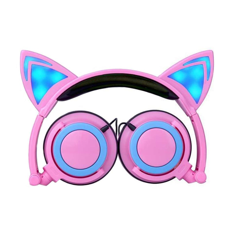 LED Flashing Hot Cat Ear Headphone Pink