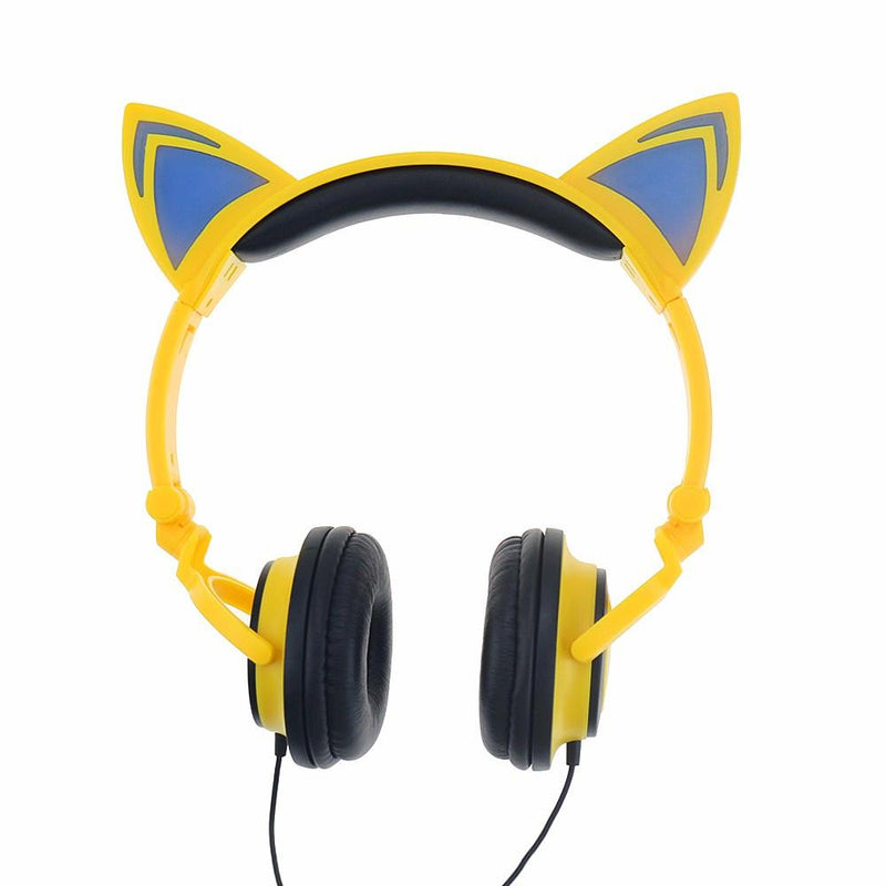LED Flashing Hot Cat Ear Headphone Yellow