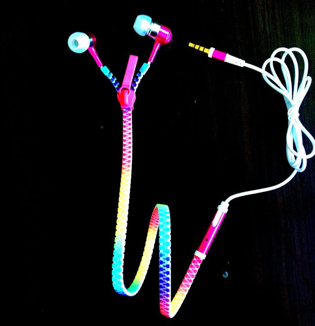 Exclusive Glowing & Flashing Earphone Metal Zipper with LED Light colorful