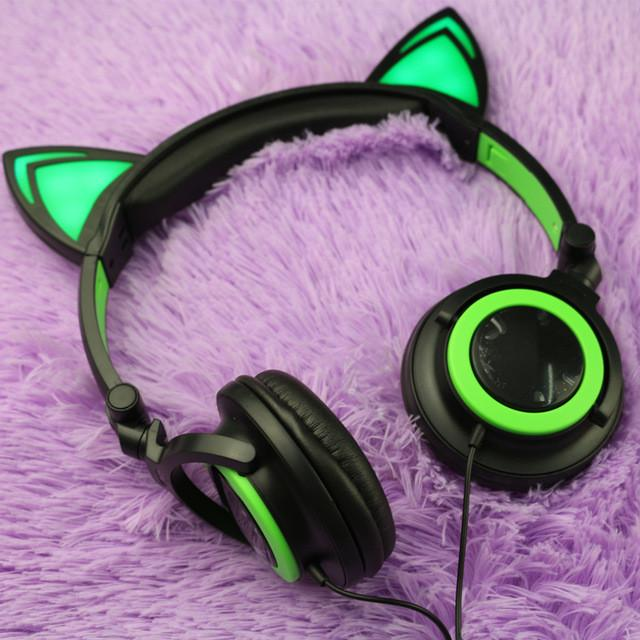 LED Flashing Hot Cat Ear Headphone Green