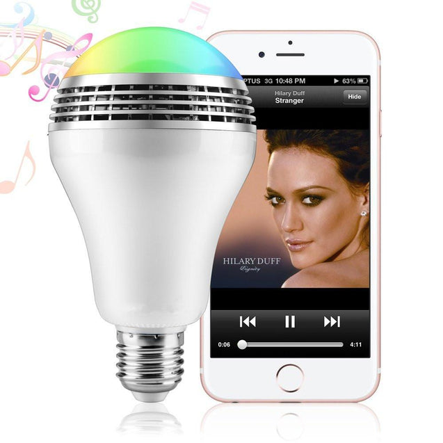 Glitter ™ - Bluetooth Smart LED Light Bulb with Speaker - Smartphone & Remote Control