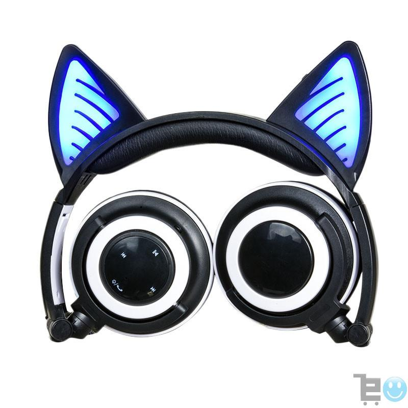 Glory® -  BLUETOOTH LED CAT EAR HEADPHONES (Wireless & Rechargeable) - 2017 Black