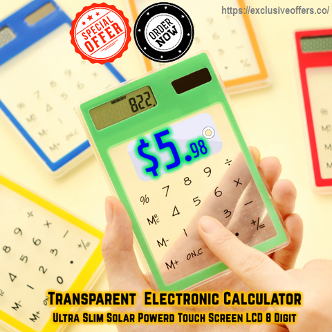 Transparent Electronic Calculator: Ultra Slim Solar Powered Touch Screen LCD 8 Digit