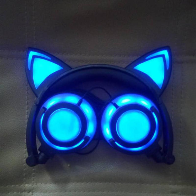 exclusive offer Cat ear led headphones folding and flashing