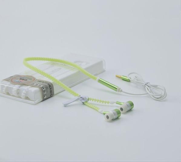 Exclusive Glowing & Flashing Earphone Metal Zipper with LED Light