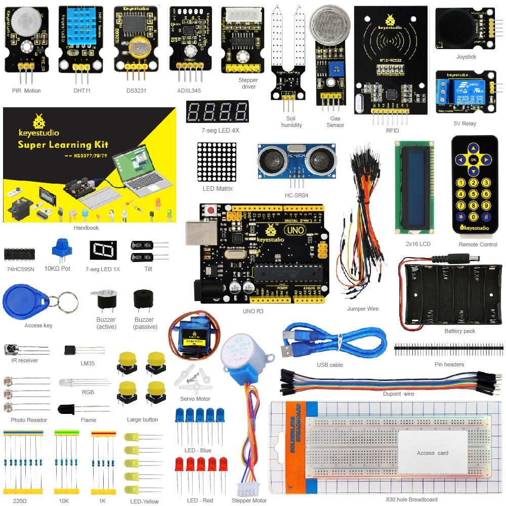 Arduino UNO R3 Learning Kit - 32 Projects + User Manual + RFID 1602 + PDF