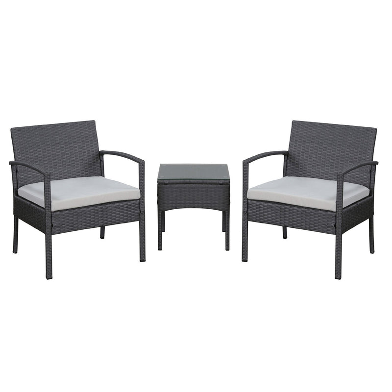 Moana Patio Lounger Set 3 Pieces - Gray
