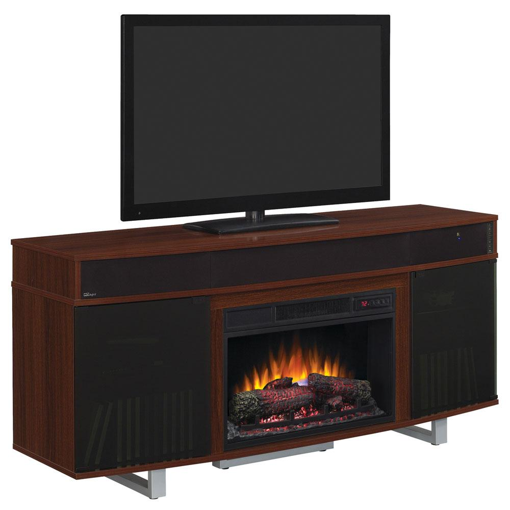 "Enterprise 64"" TV Cart with Log Fireplace & Soundbar - Cherry"