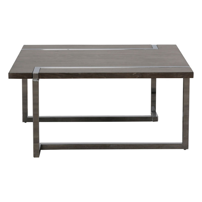 Maddox Collection Cocktail Table - Charcoal And Chrome