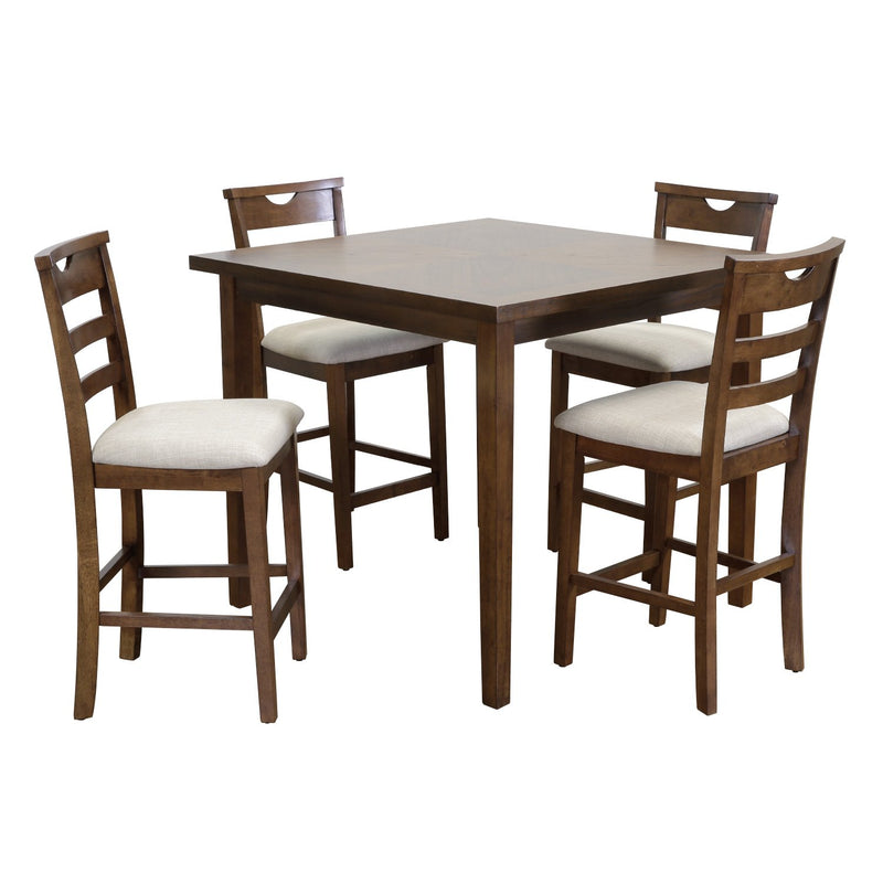 5 PC COUNTER HEIGHT TABLE SET RIVERSIDE WALNUT