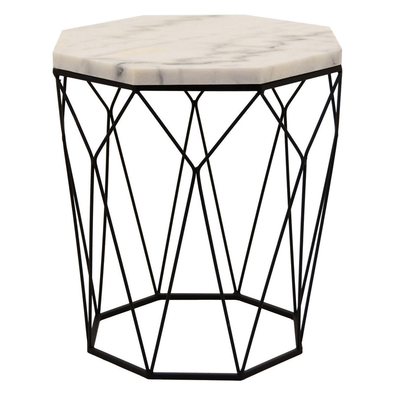 Cassandra Marble And Metal Accent Table - White
