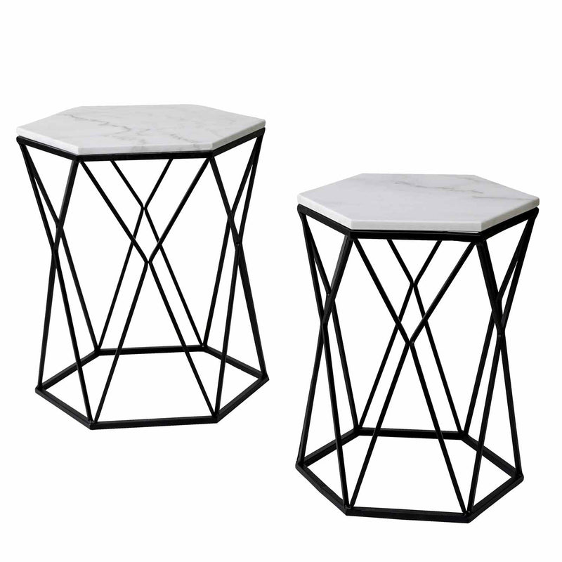Taryn Set of 2 Marble Accent Table