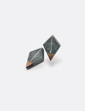 Yomo Studio line to triangle earrings. Materials include: concrete, brass, and walnut wood.