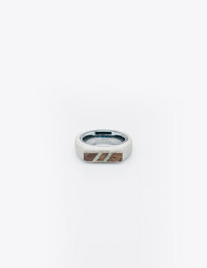 Yomo Studio 6mm three woods ring. Materials include: concrete, walnut wood, and tungsten ring.
