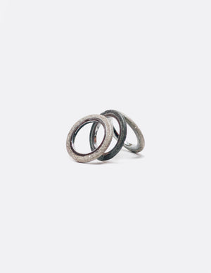 Yomo Studio trio rings. Materials include: concrete, tungsten ring, and brass ring (option).
