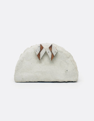 Yomo Studio Wood Zig-Zag earrings. Materials include: concrete and walnut wood.