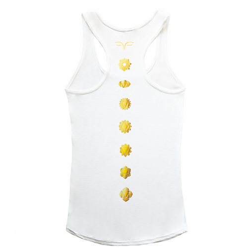 Gold Chakras White Tank Top