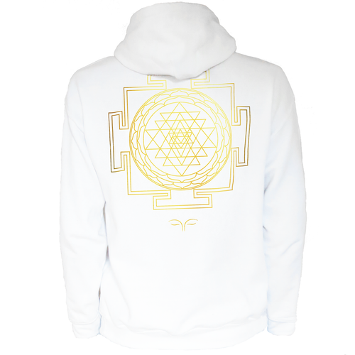 Sri Yantra Sacred Geometry White Hoodie (Men)