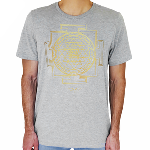 Sri Yantra Sacred Geometry Grey T-Shirt