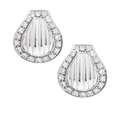 Clam Shell Motif Diamond Clip 18 Karat White Gold Earrings