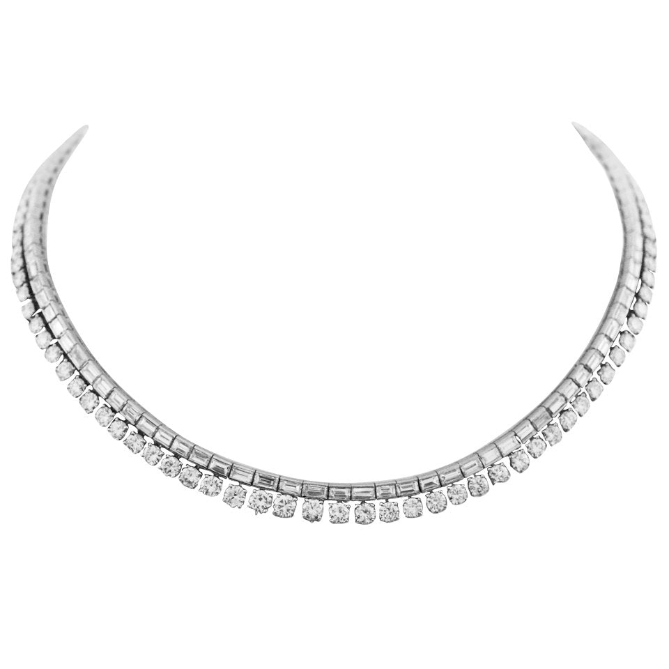 30 Carat Brilliant and Baguette Diamond Platinum Riviere Necklace