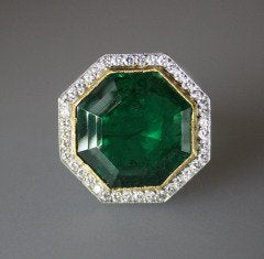 8.5 Carat Emerald Diamond Gold Platinum Ring