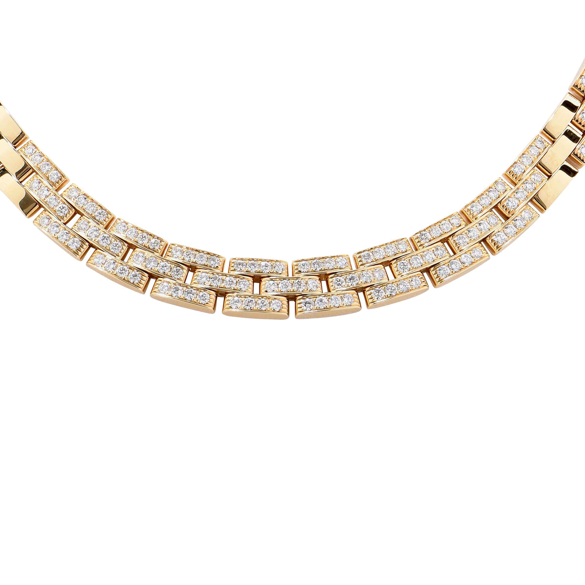 6 Carat Cartier Maillon Panthere Three-Row Diamond Yellow Gold Necklace