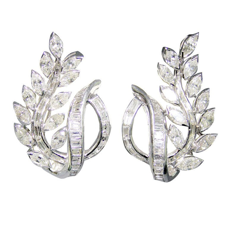 4.15 Carat Diamond Floral Motif Platinum Earrings