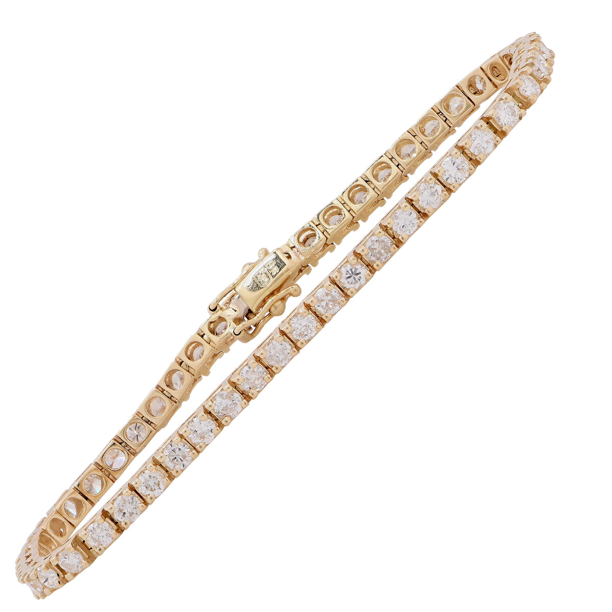 5 Carat Diamond Yellow Gold Prong Set Tennis Bracelet