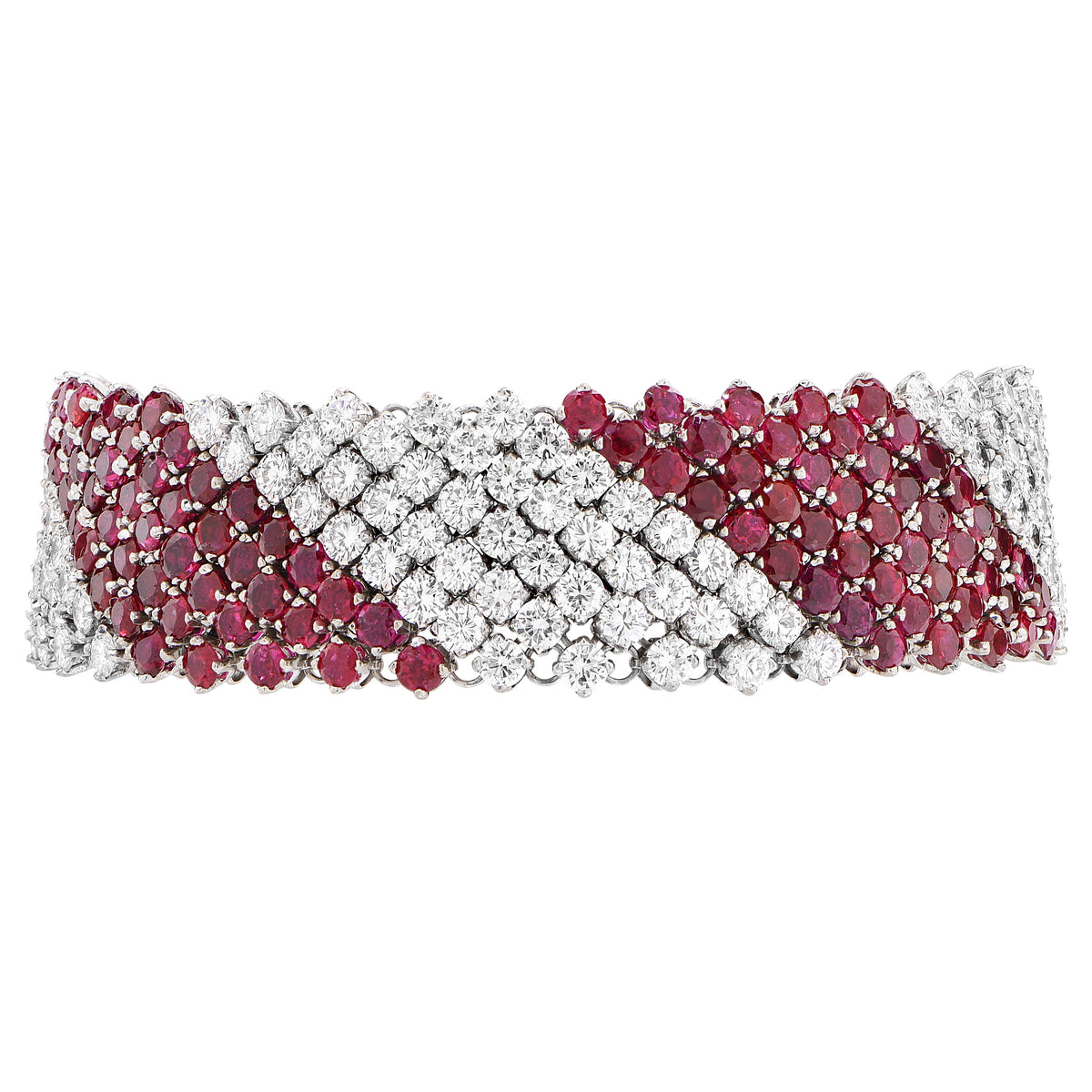 16 Carats Diamond and 19 Carats Ruby 18 Karat White Gold Bracelet