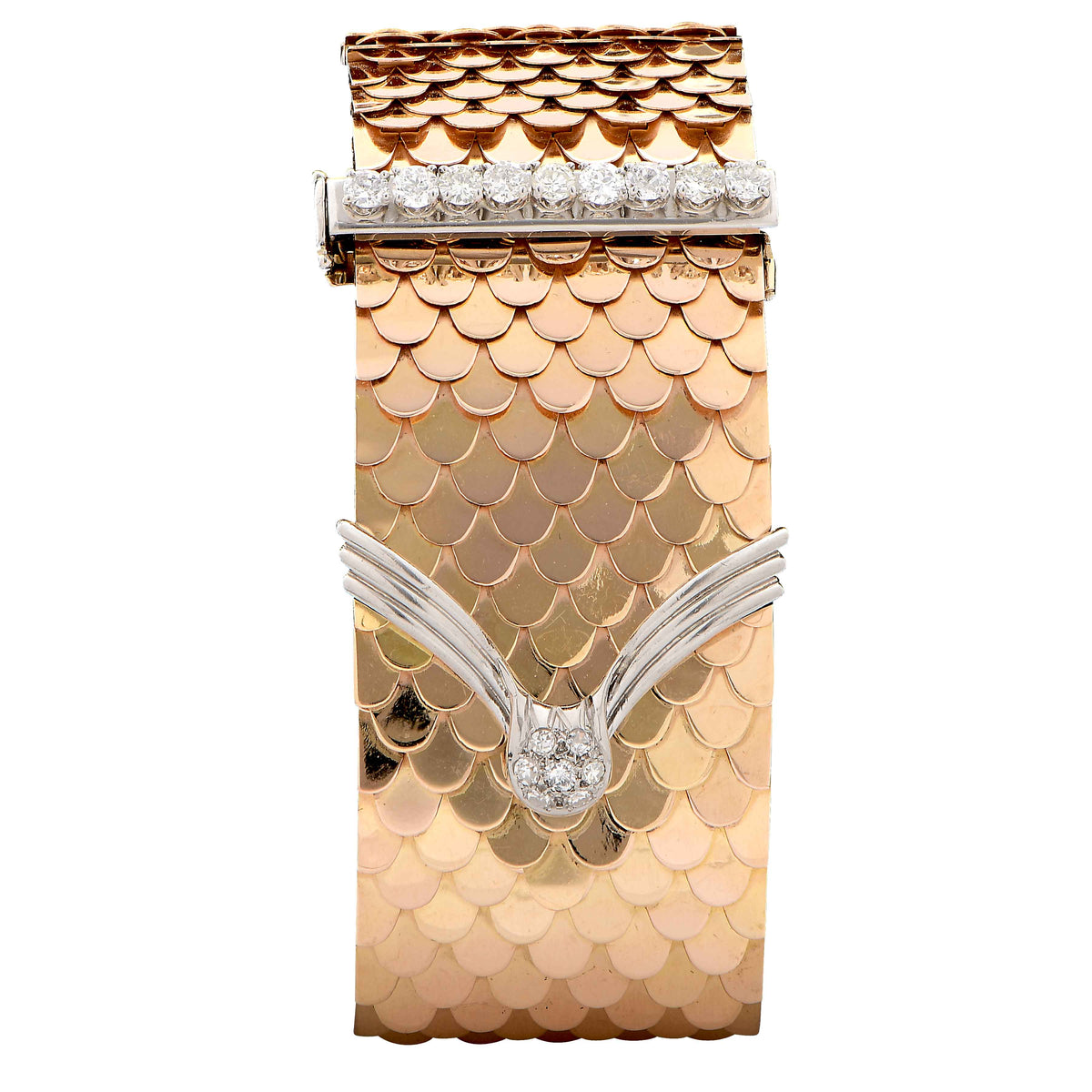 Retro 18 Karat Yellow Gold Scale Diamond Buckle Bracelet