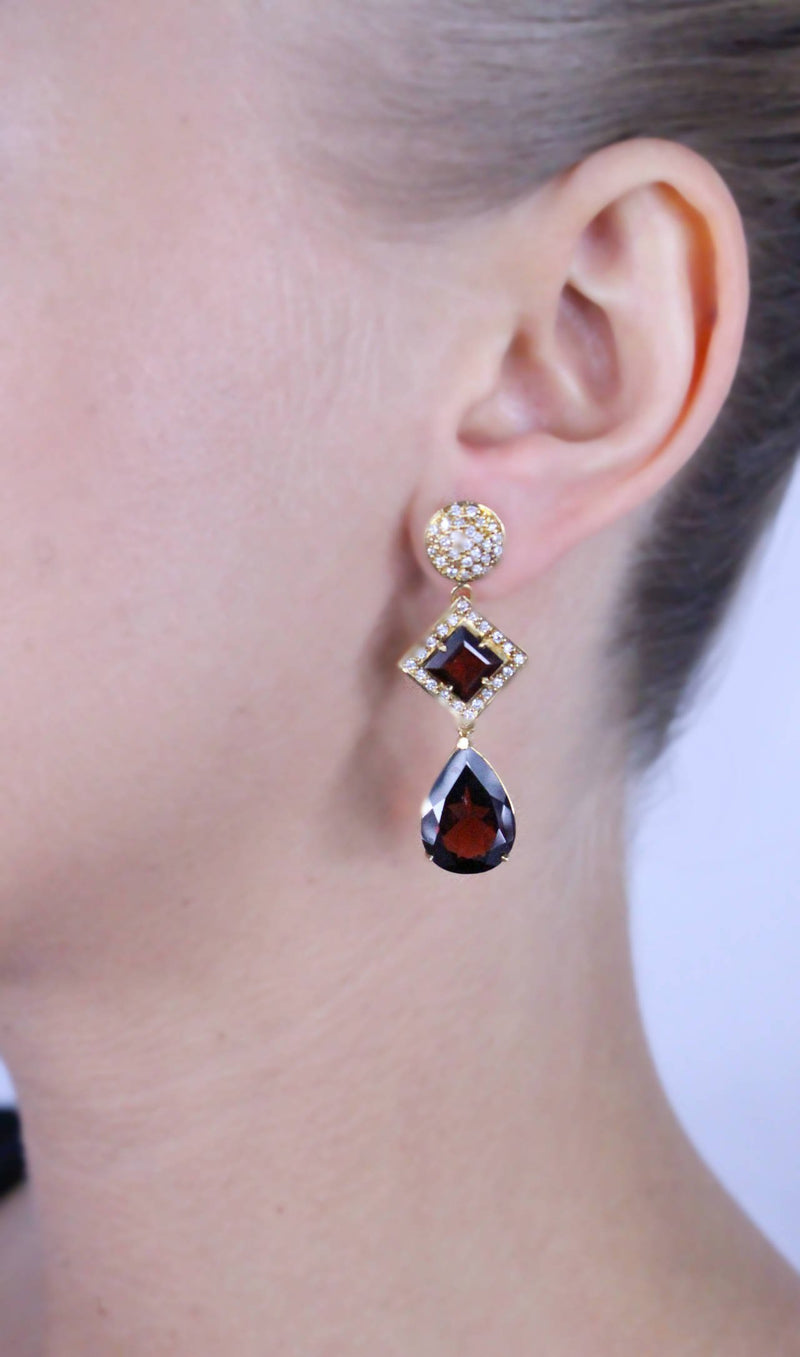 Almandine Garnet Diamond Yellow Gold Drop Earrings