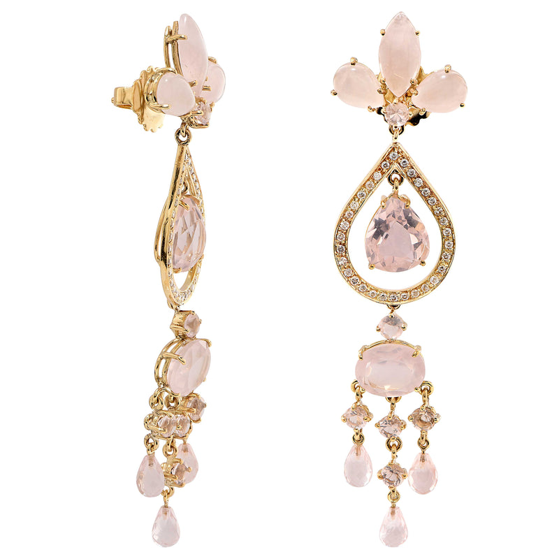 Rose Quartz and Diamond Earrings