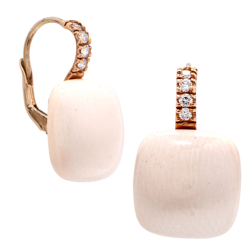 Stone and Diamond Rose Gold Earrings