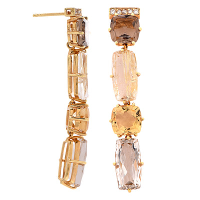 Rutilated Smoky and Murion Quartz Citrine Diamond Yellow Gold Earrings