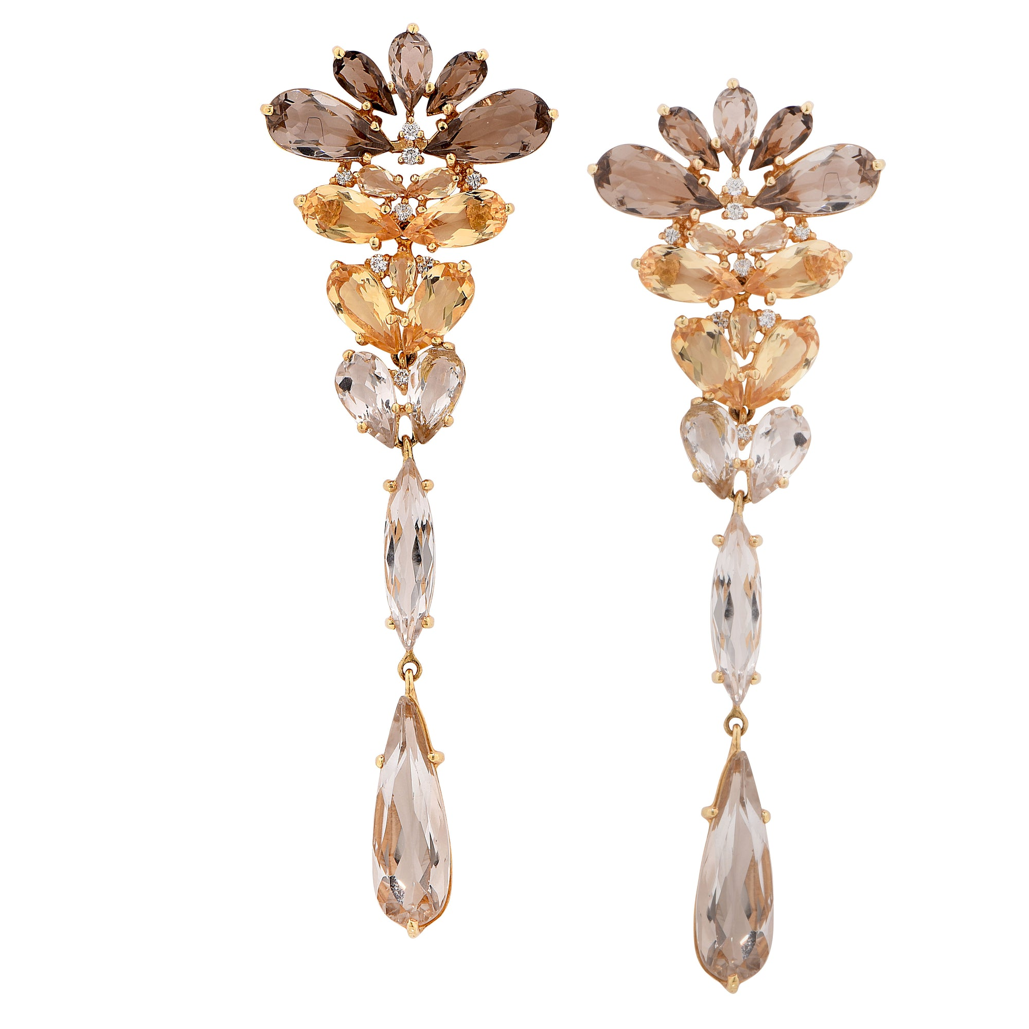 Smokey Quartz Citrine Diamond Yellow Gold Drop Earrings
