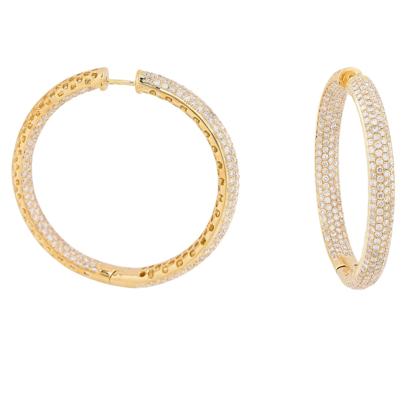 5.6 Carat Diamond Yellow Gold Hoop Earrings