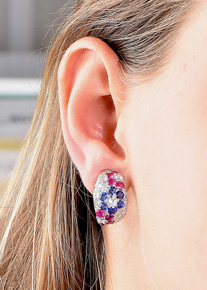 Diamond, Sapphire and Ruby Platinum Ear Clips