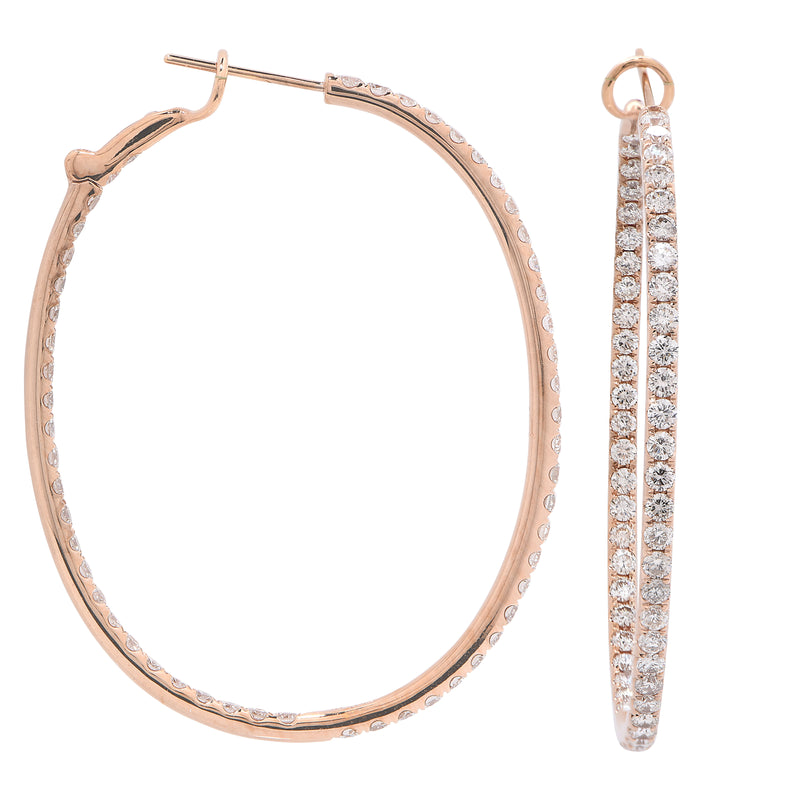 4 Carat Diamond Rose Gold Hoop Earrings