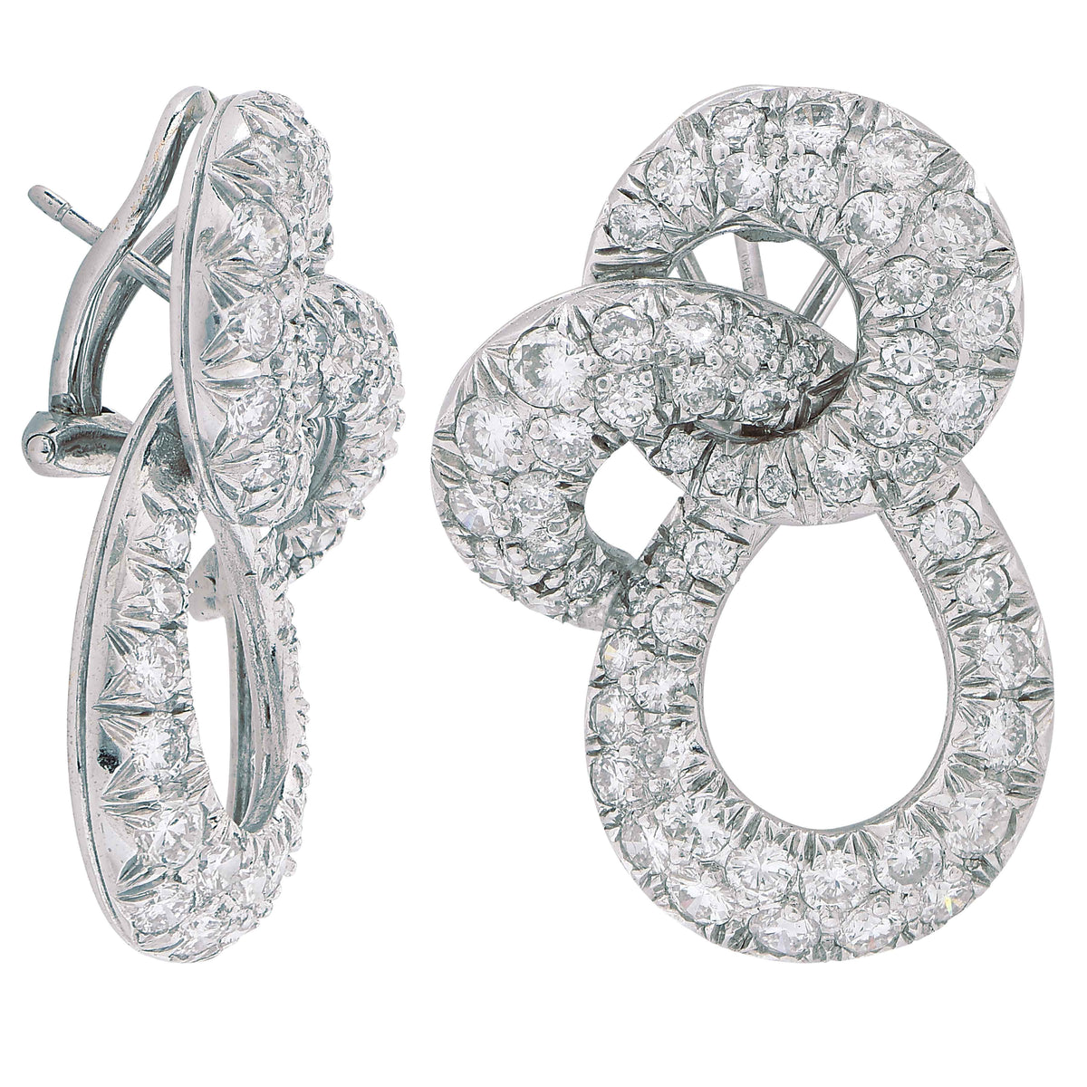 6 Carat Pave Diamond Swirl 18 Karat White Gold Earclips